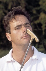 David Feherty poses with his putter at the 1989 European Open Golf Championship held at the Walton Heath Golf Course in Walton on the Hill. Image: Phil Sheldon/Popperfoto