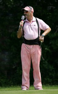 CBS Sports golf analyst David Feherty wears a pink outfit in support of Amy Mickelson and breast cancer research during the third round of the 2009 Crowne Plaza Invitational. Image: Hunter Martin