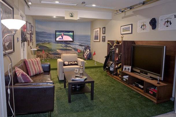 Man Cave Golf Simulator : Full swing golf simulator bar games home theater man cave