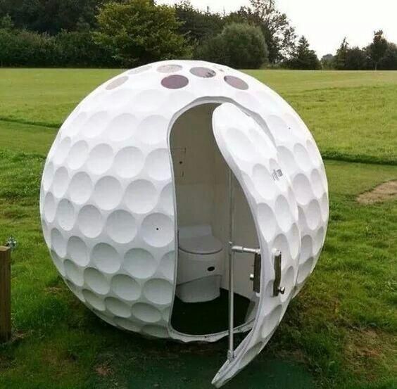 golf ball outhouse bathroom