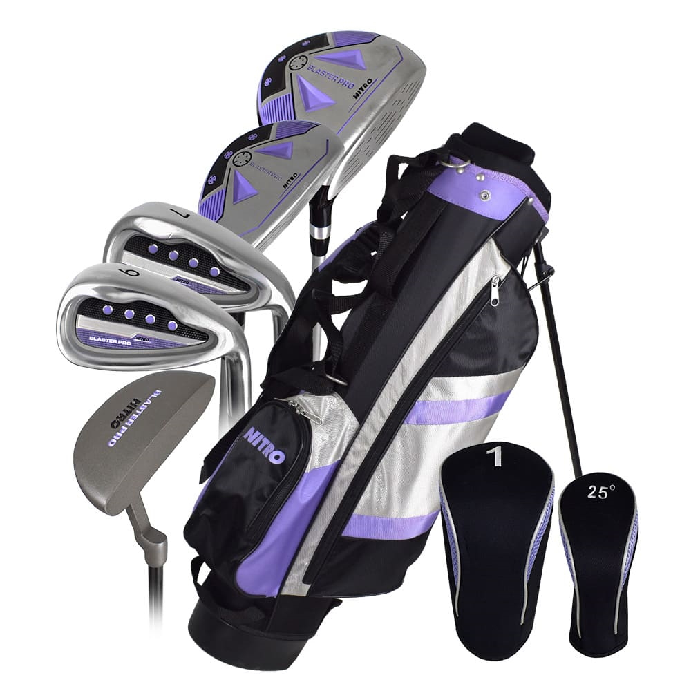 Nitro Golf Blaster Pro Junior Girls 8 Piece Complete Set With Bag Graphite (Ages 9-12)